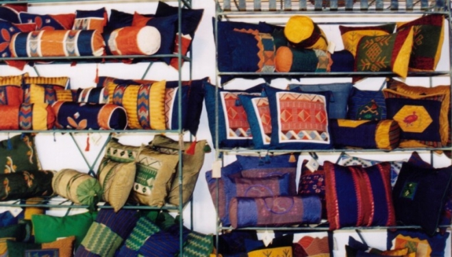 Exhibition of traditional handicrafts made by Palestinian refugee women